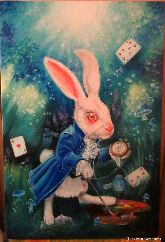 Открытка следуй за белым кроликом