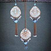 Украшения handmade. Livemaster - original item Jewelry set Earrings with tassels Pendant Oriental white blue. Handmade.