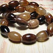 Материалы для творчества handmade. Livemaster - original item Brown agate, cappuccino spindle 12h8 mm. Handmade.