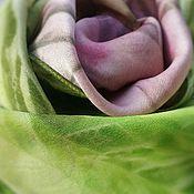 Аксессуары ручной работы. Ярмарка Мастеров - ручная работа Платок шелковый атлас 100% шибори Свежая зелень. Handmade.