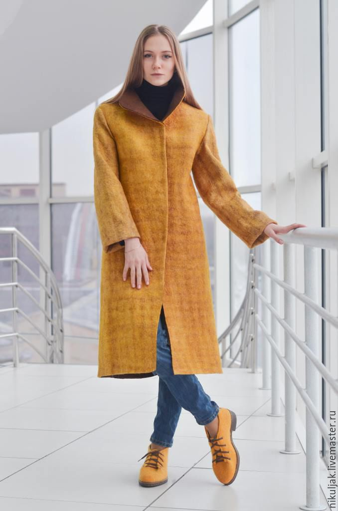 Coat in felted MUSTARD, Coats, Dnepropetrovsk,  Фото №1