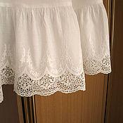 Одежда ручной работы. Ярмарка Мастеров - ручная работа Нижняя юбка из льна Арт.101а с шитьем белая молочная. Handmade.