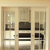 Для дома и интерьера ручной работы. Ярмарка Мастеров - ручная работа Раздвижные белые двери со стеклом в гостиную. Handmade.