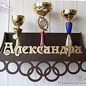 Для дома и интерьера handmade. Livemaster - original item Wooden medal holder with shelf for cups and medals. Handmade.