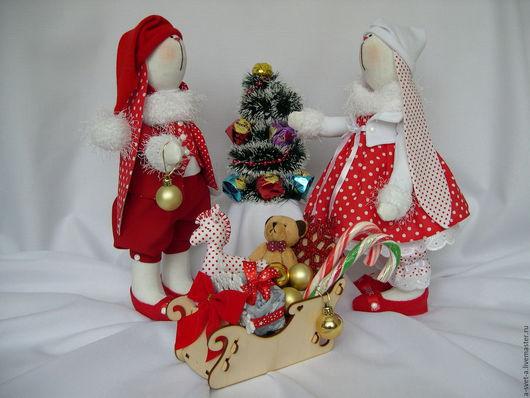 Куклы Тильды ручной работы. Ярмарка Мастеров - ручная работа. Купить Новогодние зайки-2. Handmade. Ярко-красный