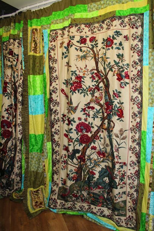 Текстиль, ковры ручной работы. Ярмарка Мастеров - ручная работа. Купить Шторы «Птицы на ветках»  № 422. Handmade. Оливковый