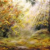 Картины и панно ручной работы. Ярмарка Мастеров - ручная работа Картина из шерсти Солнце в осеннем лесу. Handmade.