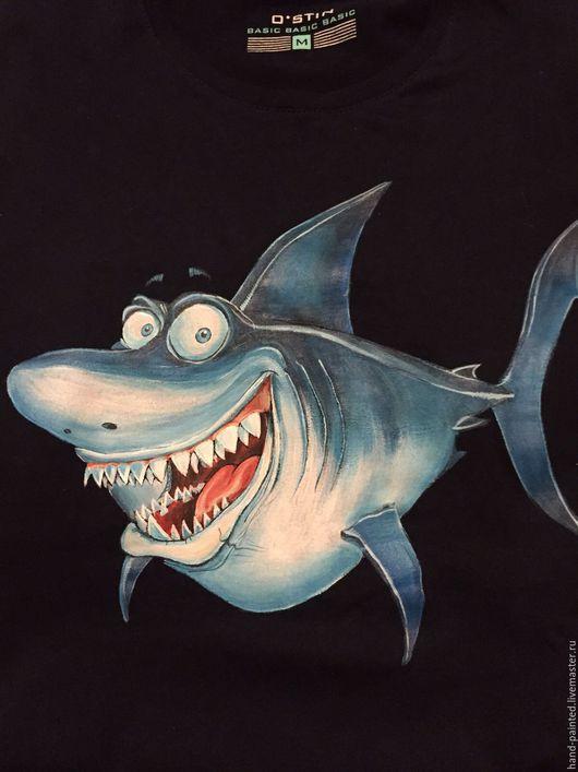Для мужчин, ручной работы. Ярмарка Мастеров - ручная работа. Купить Бешенная акула. Handmade. Голубой, акула, футболка мужская