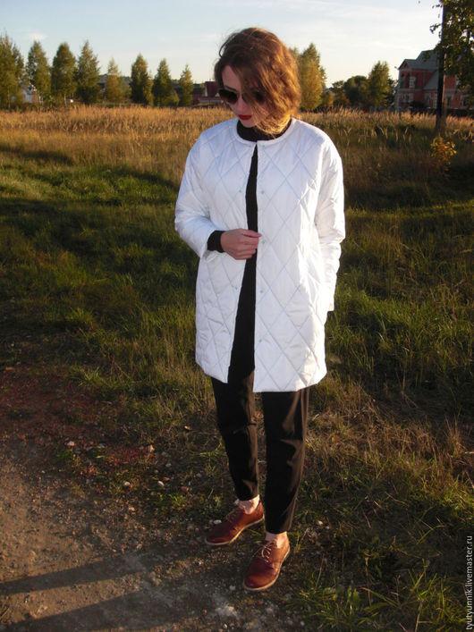 """Верхняя одежда ручной работы. Ярмарка Мастеров - ручная работа. Купить Стеганое пальто без воротника """"Облако"""". Handmade. Белый"""