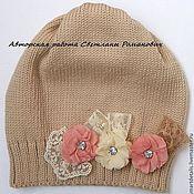 """Работы для детей, ручной работы. Ярмарка Мастеров - ручная работа Весенняя мериносовая шапочка для девочки  """"Эти скромные цветы..."""". Handmade."""