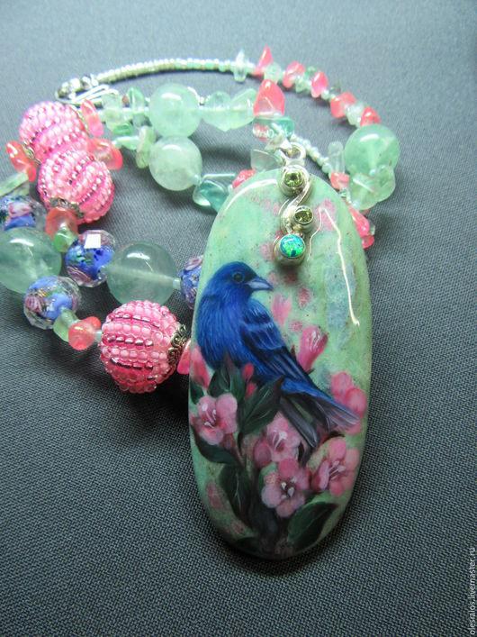 """Кулоны, подвески ручной работы. Ярмарка Мастеров - ручная работа. Купить """"Синяя птица"""". Handmade. Бирюзовый, птичка на ветке"""