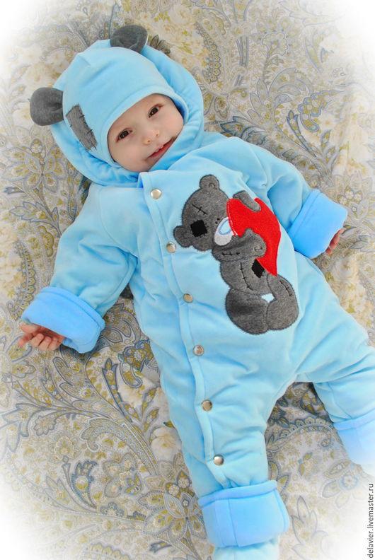 """Одежда ручной работы. Ярмарка Мастеров - ручная работа. Купить Теплый комбинезон-вырастайка с рождения  """"Мишка Тедди"""". Handmade. Голубой"""
