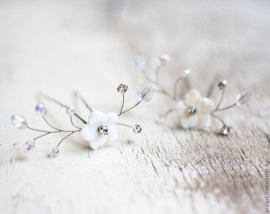 Свадебные украшения ручной работы. Ярмарка Мастеров - ручная работа. Купить Шпилька для невесты. Шпильки для волос со стразами, кристаллами. Handmade.