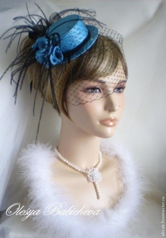 """Шляпы ручной работы. Ярмарка Мастеров - ручная работа. Купить Миниатюрная шляпка """"Lady"""". Handmade. Тёмно-бирюзовый, шляпка с вуалью"""
