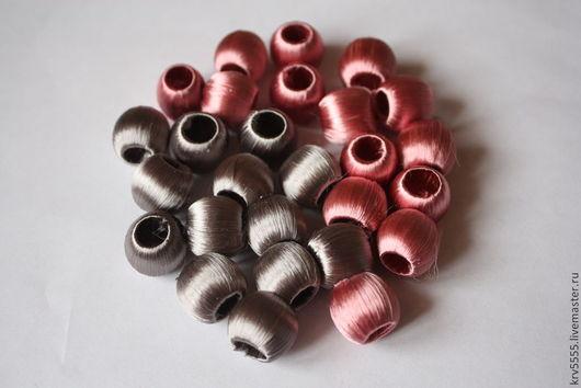 Для украшений ручной работы. Ярмарка Мастеров - ручная работа. Купить Бусины обтянутые шелковой нитью, шар 18 мм. Handmade.