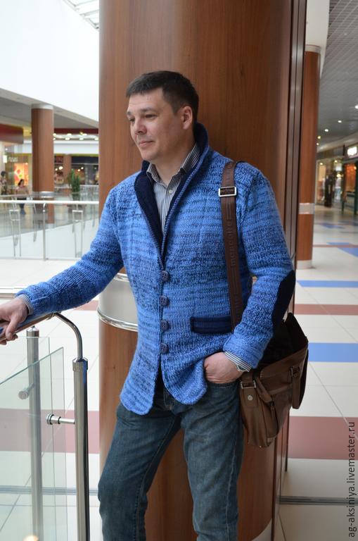 пиджак вязаный мужской джинсовая классика купить в интернет