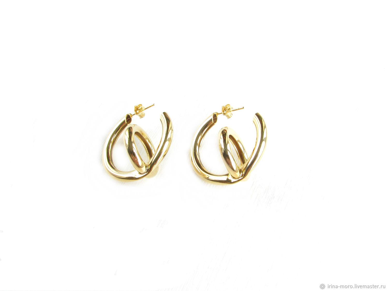 3D ring earrings 'Contrary' large earrings, stud earrings, Congo earrings, Moscow,  Фото №1
