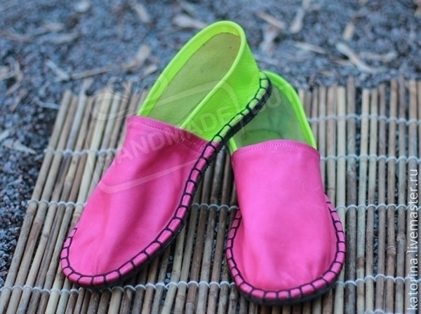 NEW! Espadrilles leather fuchsia and light green Unisex. Any sizes and colors according to your individual standards!