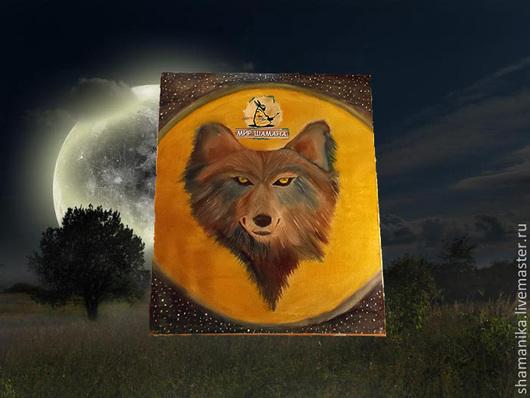 Обереги, талисманы, амулеты ручной работы. Ярмарка Мастеров - ручная работа. Купить Дух Луны Волк картина. Handmade. Желтый
