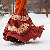 """Одежда ручной работы. Ярмарка Мастеров - ручная работа Бохо-юбка """"Золотая осень"""". Handmade."""