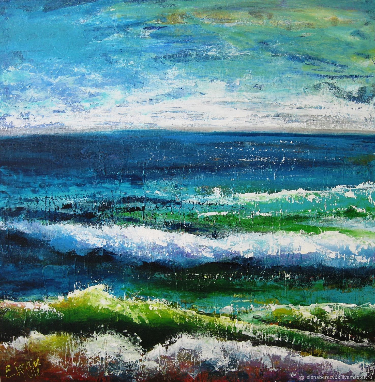 Abstract Acrylic Seascape Painting Living Room Wall Art Blue Painting купить на Ярмарке