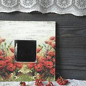 Для дома и интерьера ручной работы. Ярмарка Мастеров - ручная работа Зеркало-панно Маки в стиле кантри, шебби,винтаж. Handmade.