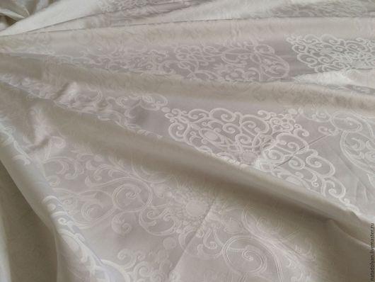"""Шитье ручной работы. Ярмарка Мастеров - ручная работа. Купить Ткань САТИН Жаккард """" Белоснежные узоры"""" 240 см. Handmade."""