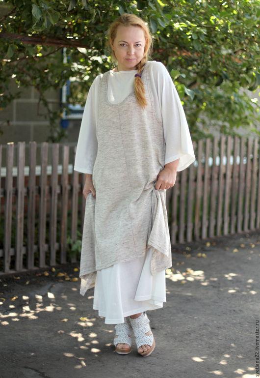 Платья ручной работы. Ярмарка Мастеров - ручная работа. Купить Летний льняной бохо сарафан. Handmade. Бежевый, лён