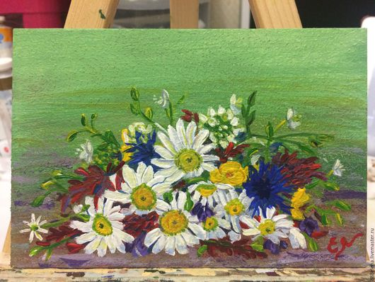 """Картины цветов ручной работы. Ярмарка Мастеров - ручная работа. Купить Картина """"БУКЕТ ПОЛЕВЫХ ЦВЕТОВ"""". Handmade. Цветы, луга"""