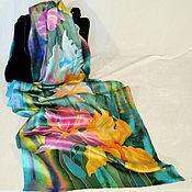 Аксессуары handmade. Livemaster - original item Silk scarf batik Fragrant irises. Handmade.