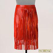 Одежда handmade. Livemaster - original item Skirt with fringe (2 layer) genuine leather. Handmade.