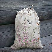 Для дома и интерьера handmade. Livemaster - original item Ivan-tea.. Linen bag for tea,coffee ,herbs. Painting.. Handmade.