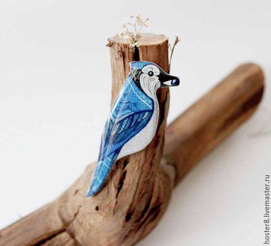 """Броши ручной работы. Ярмарка Мастеров - ручная работа. Купить Брошь """"Сойка"""" (0182). Handmade. Птичка, птичка брошь"""