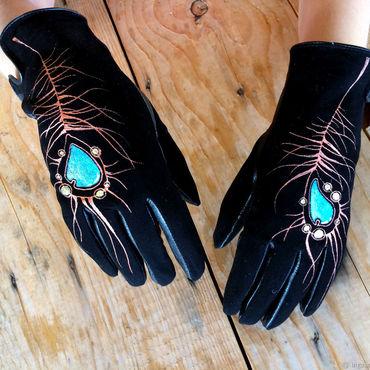 "Accessories handmade. Livemaster - original item Black women leather gloves.Unique design ""Peacock feather"" Size 6.5. Handmade."