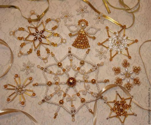 """Новый год 2017 ручной работы. Ярмарка Мастеров - ручная работа. Купить """"Золотой"""" новогодний набор 11 снежинок и Ангел. Handmade."""