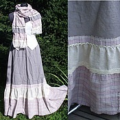 Одежда handmade. Livemaster - original item No. 015 Linen skirt + scarf boho