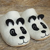 Обувь ручной работы. Ярмарка Мастеров - ручная работа Тапочки валяные шлепки - Панды. Handmade.