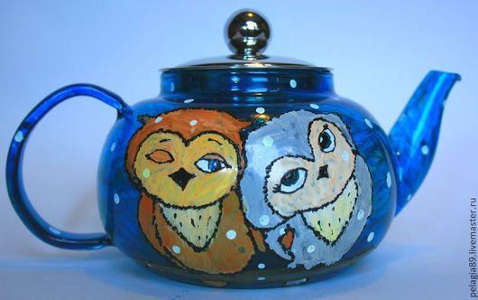 """Чайники, кофейники ручной работы. Ярмарка Мастеров - ручная работа. Купить Заварочный чайник """"Влюбленные совушки"""". Handmade. Сова, совы"""