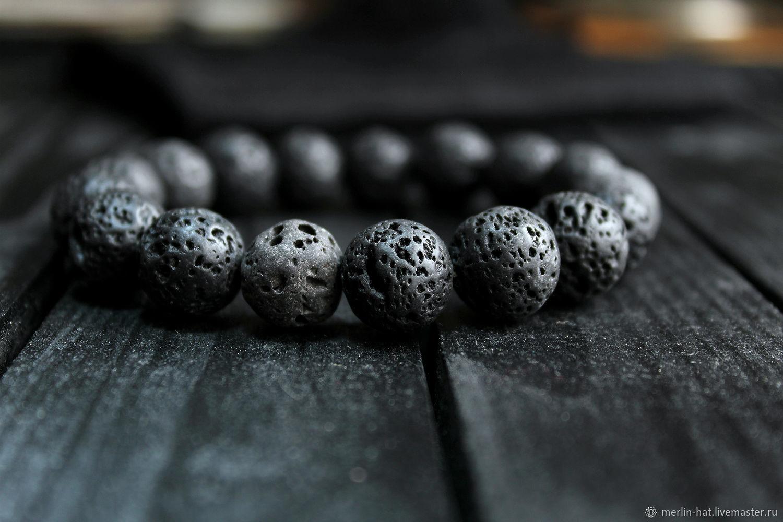 Bracelet from lava stone 'Volcano' 14 mm, Bead bracelet, Tambov,  Фото №1