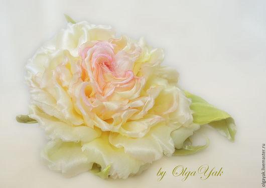 Заколки ручной работы. Ярмарка Мастеров - ручная работа. Купить СКИДКА 20% Цветы из ткани. Цветы из шелка. Роза Sunny. Handmade.