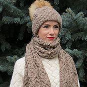 Аксессуары ручной работы. Ярмарка Мастеров - ручная работа Шапка и большой шарф, шапка с меховым помпоном. Handmade.