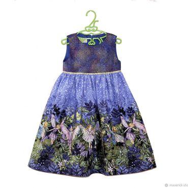 Работы для детей, ручной работы. Ярмарка Мастеров - ручная работа Нарядное платье для девочки с феями на сиреневом фоне. Handmade.
