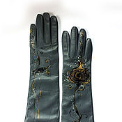 Аксессуары handmade. Livemaster - original item Long painted leather women gloves. Size 8. Handmade.