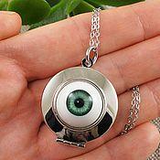 Подвеска ручной работы. Ярмарка Мастеров - ручная работа Медальон Глаз Зеленый круглый rhodium. Handmade.