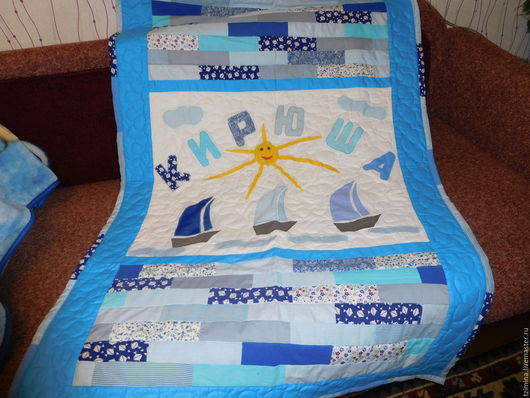 """Пледы и одеяла ручной работы. Ярмарка Мастеров - ручная работа. Купить Детский плед """"КИРЮША"""". Handmade. Комбинированный, именной подарок"""