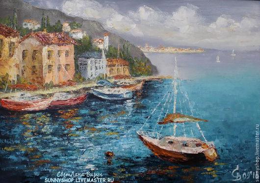 """Пейзаж ручной работы. Ярмарка Мастеров - ручная работа. Купить Картина маслом """"Средиземноморье. Пейзаж с яхтами"""" в раме. Handmade."""