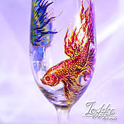 Посуда ручной работы. Ярмарка Мастеров - ручная работа коктейльные, пивные, бокалы - сиамские рыбки. Handmade.