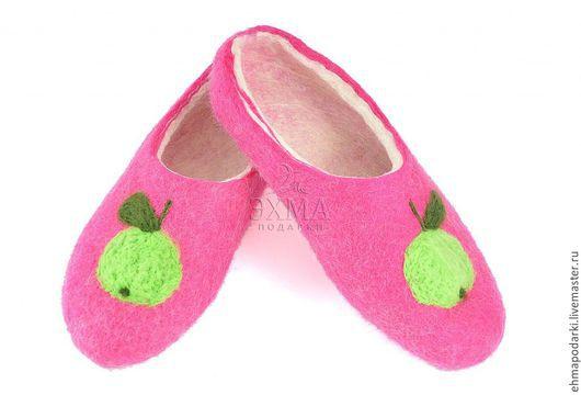 Обувь ручной работы. Ярмарка Мастеров - ручная работа. Купить Тапки Яблочки. Handmade. Войлочные тапочки, тапки из войлока, войлок
