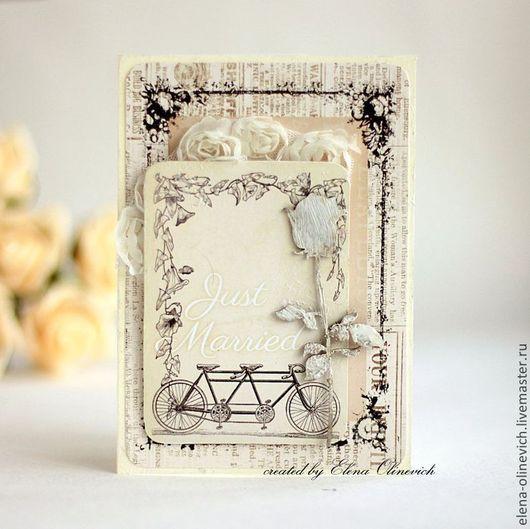 Свадебные открытки ручной работы. Ярмарка Мастеров - ручная работа. Купить Открытка Just Married. Handmade. Открытка ручной работы