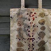 """Сумки и аксессуары ручной работы. Ярмарка Мастеров - ручная работа Эко сумка """"Шесть листиков"""", эко принт натуральное крашение. Handmade."""